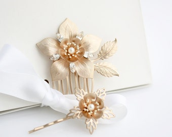 Rose Gold Bridal Comb Set, Wedding Hair Pin Set, Vintage Floral Comb, Matte Rose Gold Bride Hair Accessory, Pretty Hair Pins ALESSIA SET