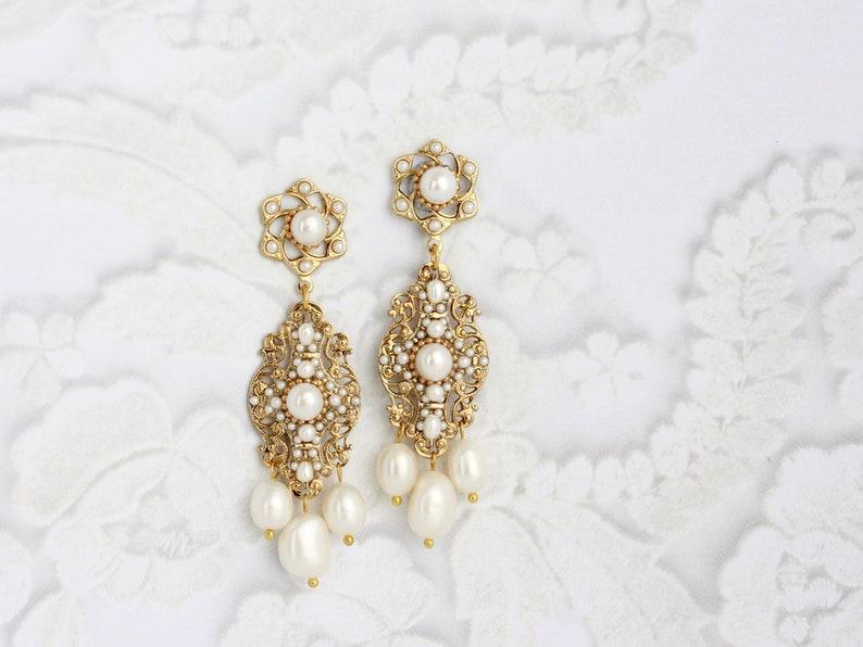 Gold Bridal Earrings Pearl Dangle Wedding Earrings image 1