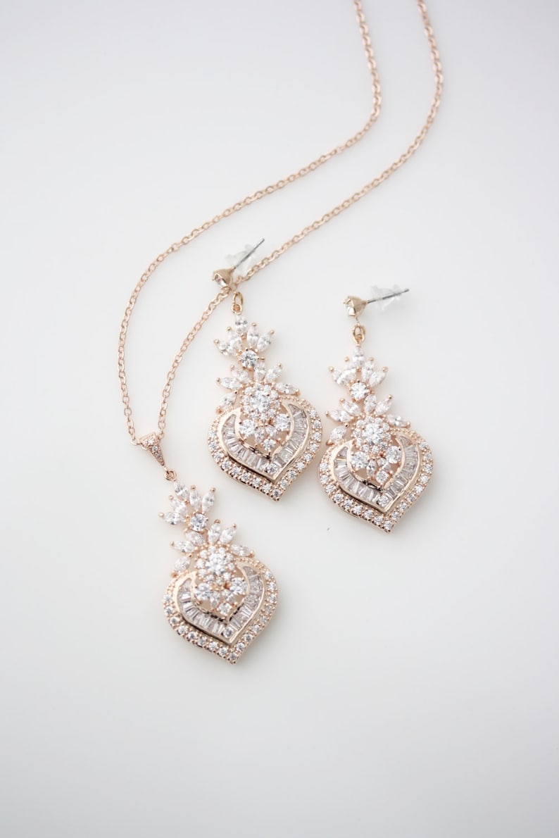 Wedding Jewelry Bridal Jewelry Set Rose Gold Crystal Necklace Crystal Earrings Necklace Wedding Earrings Wedding necklace EVIE Jewelry Set