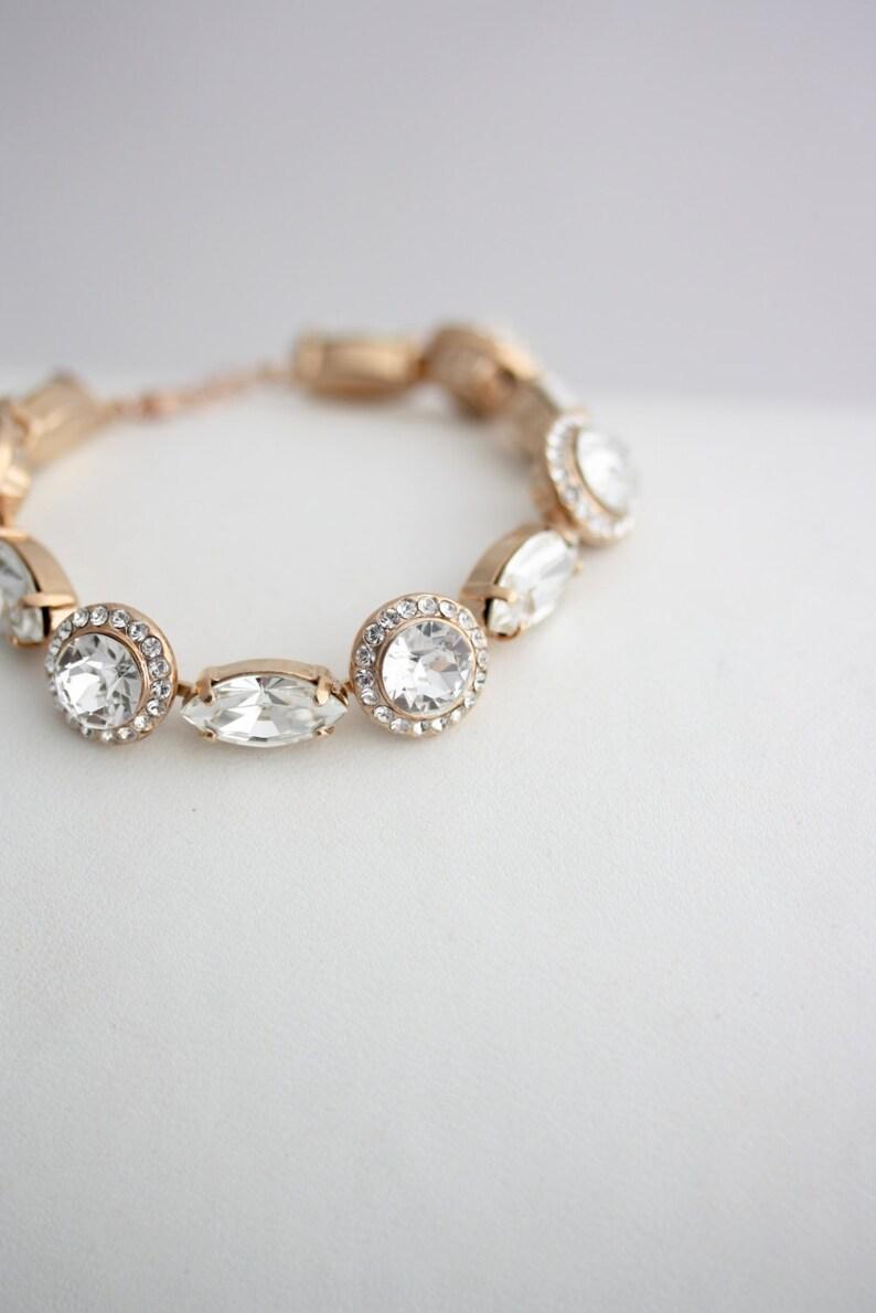 Wedding Bracelet Rose Gold Crystal Bracelet Wedding Jewelry  5388e1f083
