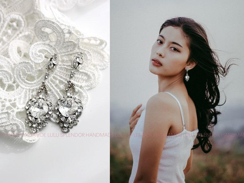 Crystal Wedding Earrings Vintage Bridal Earrings Swarovski image 0