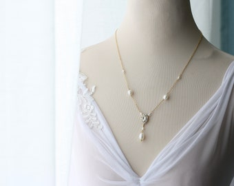 Bridal Necklace, Drop Pearl Necklace, Freshwater Pearl Jewellery, Dainty Wedding necklace, Minimalist Necklace, Gift For Bride, POLLI