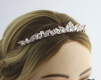 Rose Gold  Bridal Tiara Small Wedding Crown Swarovski Crystal  Simple Diadem for Bride Art Deco Handmade Rhinestone Elegant Headpiece  AGGIE