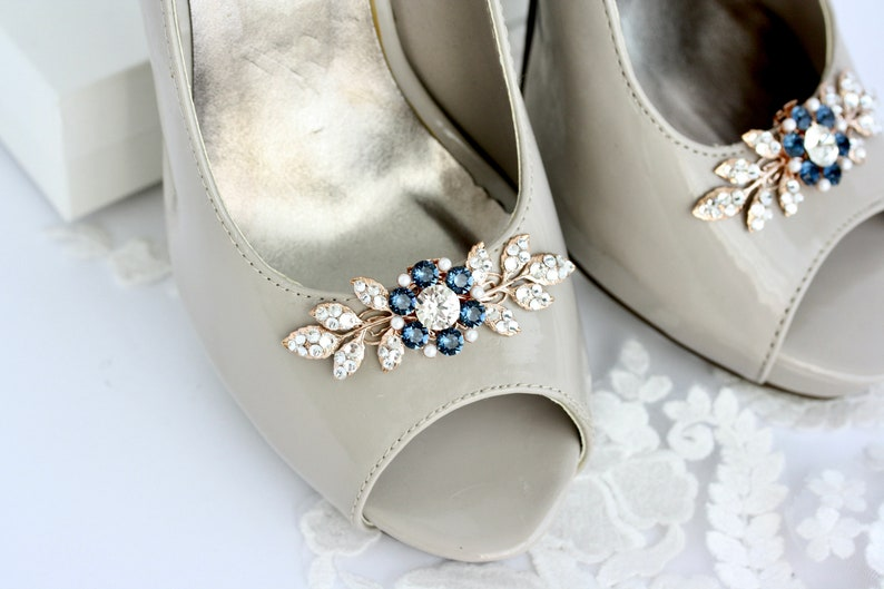 Rose Gold Pair of Shoe Clips for Wedding Shoes  Bridal Shoe image 1