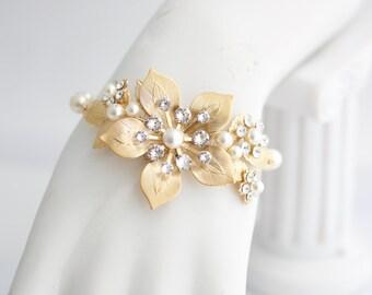 Wedding Bracelet Bridal Wrist Corsage Bracelet Matte Gold Vintage Flower Bracelet GAEA