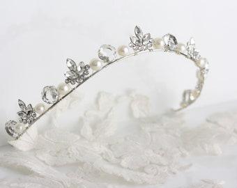 Wedding Tiara Small Rhinestone Wedding Tiara for Bride Pearl Crytsal Leaf Headpiece Halo Bridal Wedding Crown Handmade Tiara LENORE TIARA