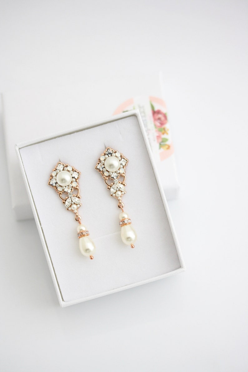 Plug Earrings for Wedding Bridal Gauge Rose Gold Custom Size Crystal and Pearl Jewelry Art Deco Dangle Earrings SWEENY