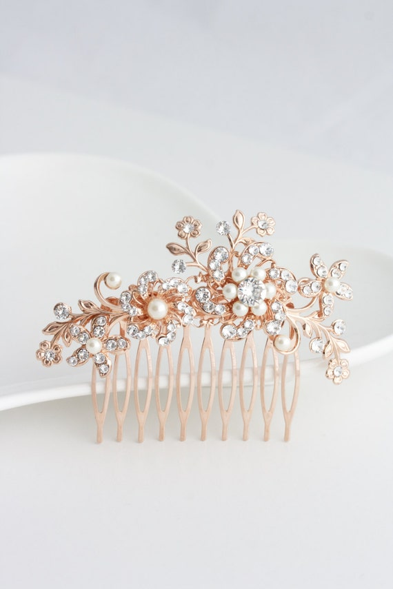 Floral Wedding Hair Comb Rose Gold Bridal Hair Accessory Etsy