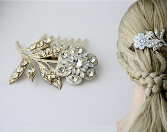Gold Wedding Hair Accessories, Floral Hair Comb for Bride, ZINNIA