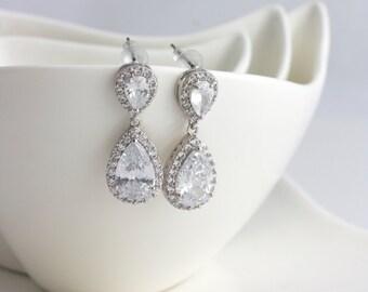 Bridal Earrings Cubic Zirconia Teardrop Earrings Wedding Jewelry Silver Rhodium CZ Wedding Earrings POPPY