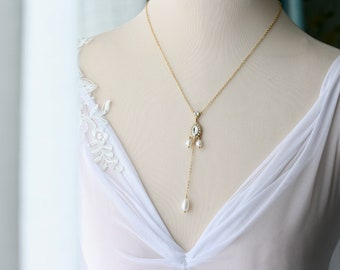 Gold Lariat Necklace, Bridal Necklace, Real Pearl & Crystal Necklace, Minimalist Gold Necklace, Chain Necklace, Beach Wedding Necklace,PERI