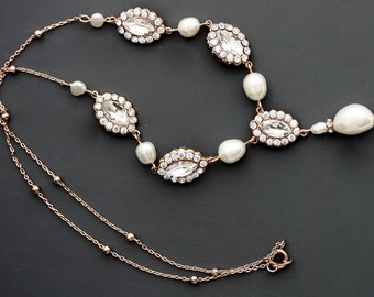 Pearl Necklace Bridal, Delicate Natural Pearl And Rhinestone Wedding Chain, Beach Wedding, Freshwater Pearl Necklace MAVIS