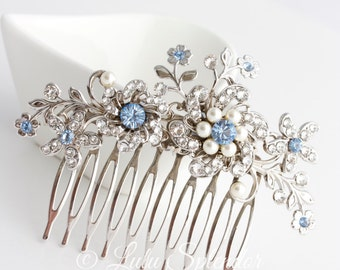 Wedding Hair Comb Light Sapphire Blue Bridal Hair Accessories Something Blue Flower Wedding Comb  SABINE Choose your Blue