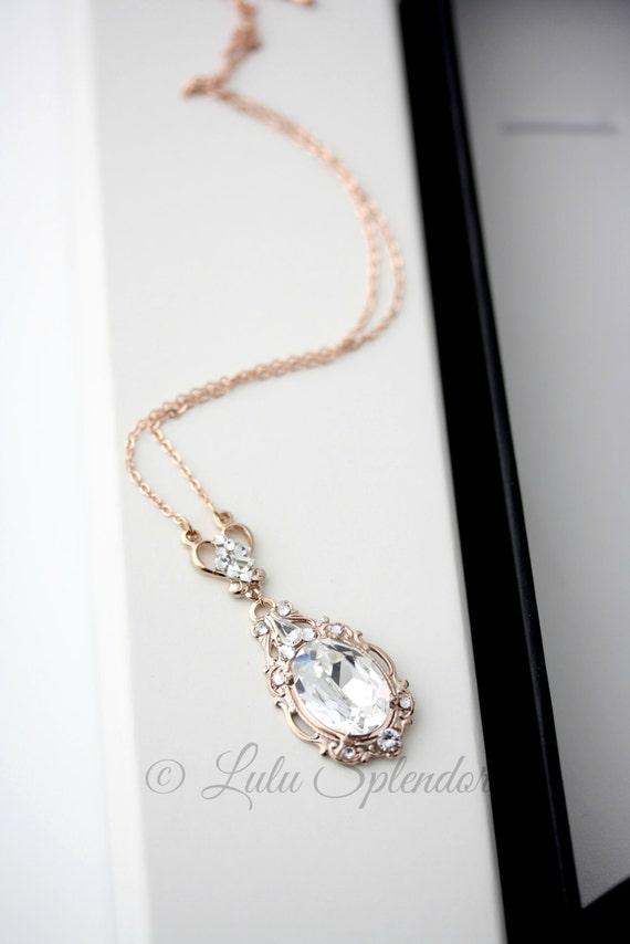Rose Gold Pendant Necklace Bridal Necklace Rose Gold Wedding Etsy