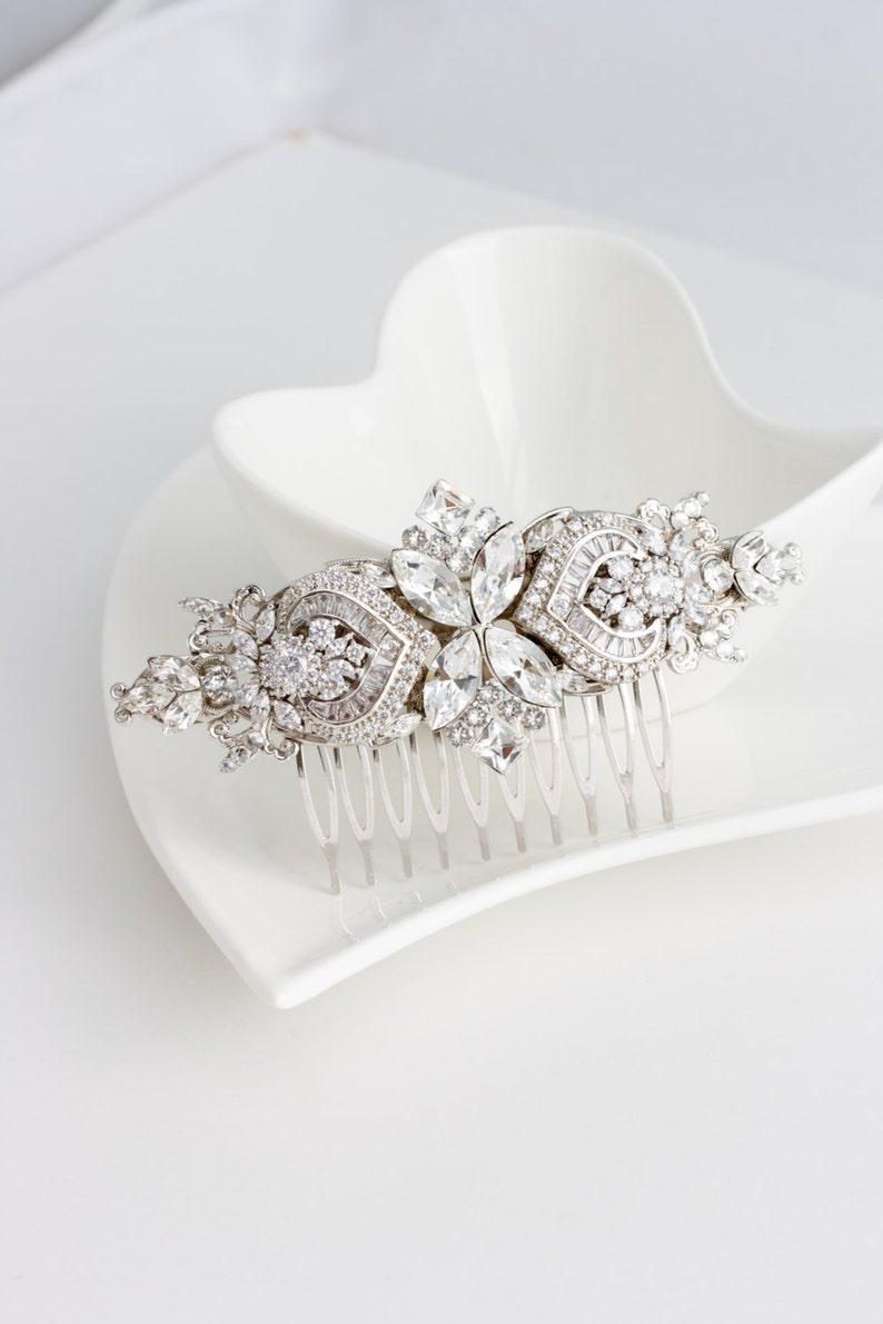 Bridal Comb Crystal Hair Comb Rhinestone Headpiece Wedding image 0