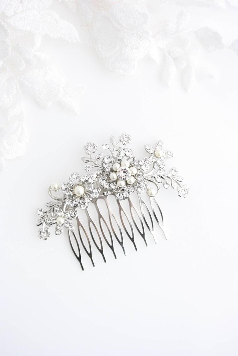 SABINE Bridal Hair Comb Crystal Wedding Comb Flower Side Comb Ivory White Pearl Crystal  Rhinestone Wedding Hair Accessories