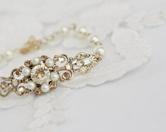 Wedding Jewelry Crystal Bridal Bracelet Swarovski Wedding Bracelet Pearl Cuff Bracelet Golden Shadow Vintage Wedding Bracelet  PARIS