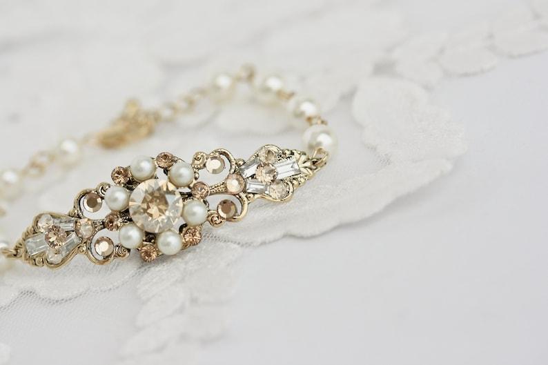 Wedding Jewelry Crystal Bridal Bracelet Swarovski Wedding image 1