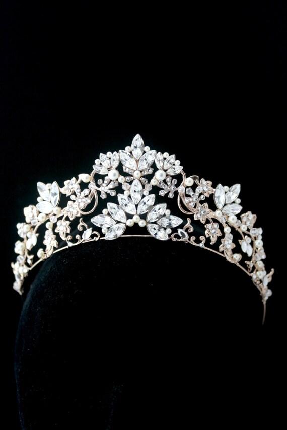 Braut Krone Braut Diadem Rose Gold Hochzeit Tiara Swarovski Etsy