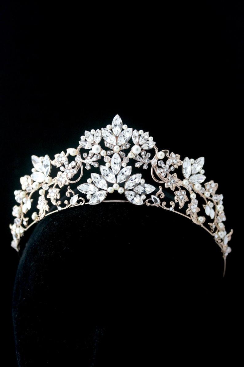 62824aef916d Bridal Crown Bridal Tiara Rose Gold Wedding Tiara Swarovski