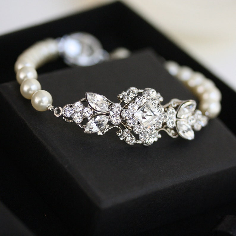 Pearl Bridal Bracelet Wedding Jewelry Swarovski Crystal image 0