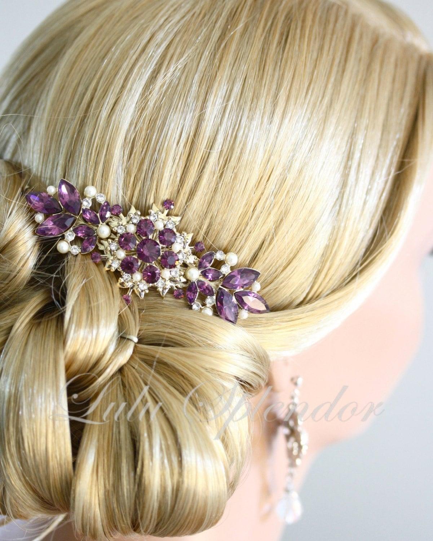 vintage bridal comb amethyst wedding hair comb purple wedding hair  accessories gold comb, chantilly