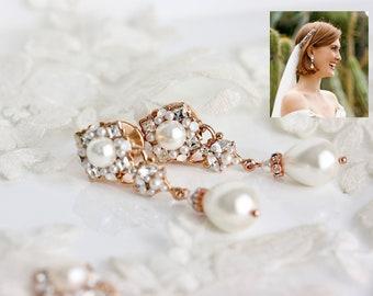 Gauge Earrings For Wedding Plugs Rose Gold Large Pearl Teardrop Dangle Tunnels Jewelry Unique Plugs For Bride Earrings SWEENY LARGE