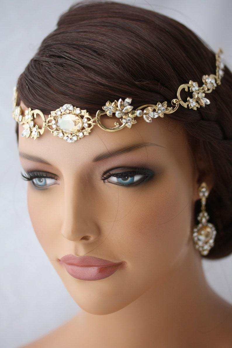 Wedding Hair Accessory Gold Forehead Band Vintage Headband  d59f2b9e8d76