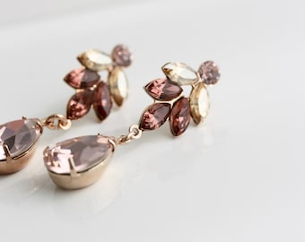 Blush Bridal Earrings, Pink Morganite Teardrop Dangle Earrings, Rose Gold Earrings, Small Leaf Earrings for Wedding Prom Formal Wear AMELIA