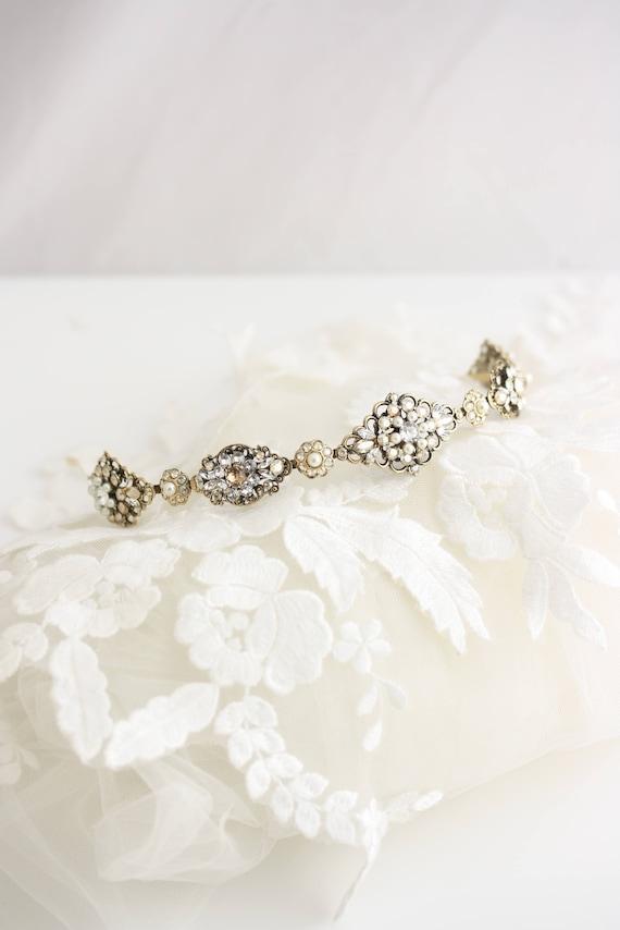 872355cf251133 Bridal Tiara Headband Antique Gold Bridal Hair Accessory
