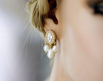 Gold Earrings For Bride, Pearl Drop Earrings, Real Pearl Earrings, Beach Wedding Jewellery, Minimalist Style, Elegant Gift For Bride PERI