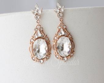 Bridal Earrings Rose Gold  Bridal Jewelry Crystal Wedding Earrings Statement Wedding Jewelry RYAN