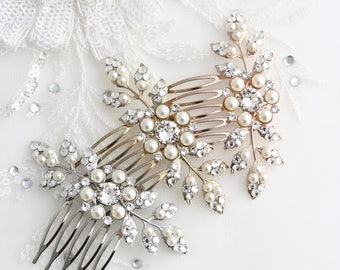 Bridal Comb, Rose Gold Wedding Hair Accessory, Small Hair Comb for Brides, Pearl Crystal Leaf Comb, Bridesmaids Gift,  Elegant Pin  MACY