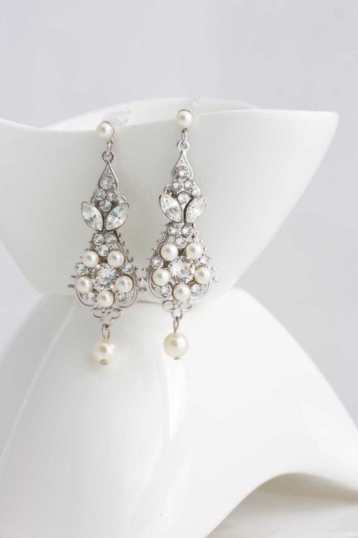 8a900af09 Pearl and Crystal Wedding Earrings Vintage Bridal Earrings