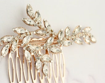 Leaf Bridal Hair Comb Rose Gold  Leaves Rhinestone Crystal Wedding Hair Accessory Hair Slide Spring Fall Garden Formal Brides NEVE CLASSIC