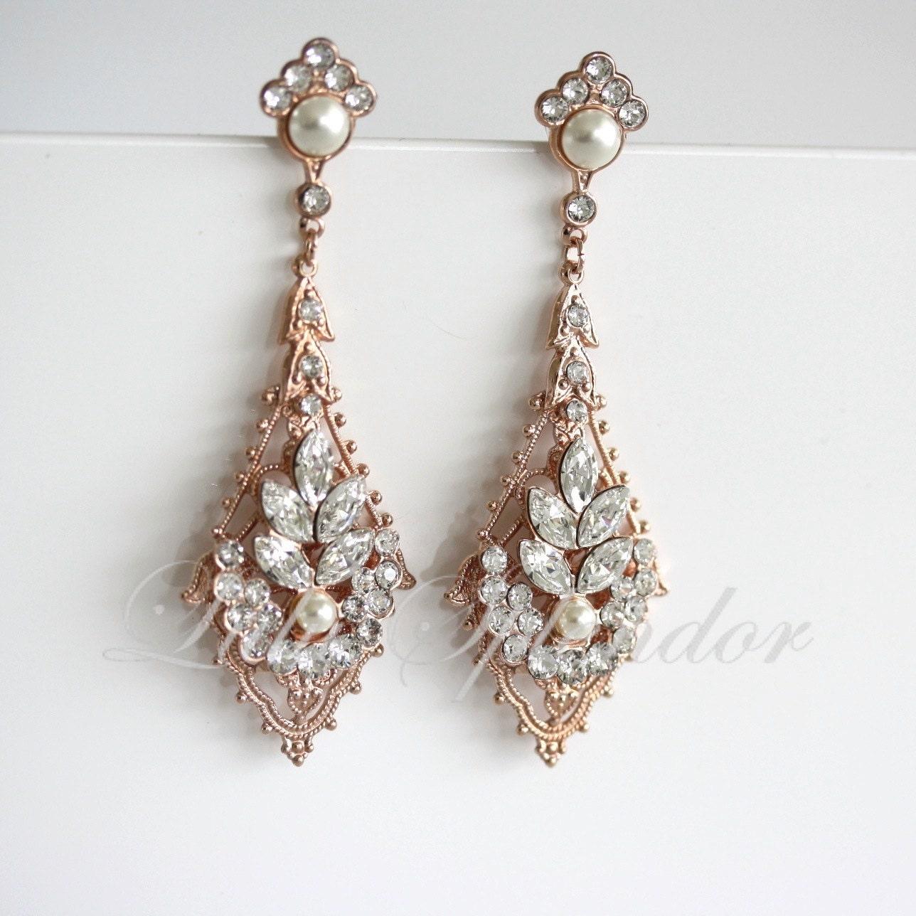 52c612991 Rose Gold Wedding Earrings Chandelier Bridal Earrings | Etsy