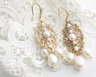 Pearl Chandelier Earrings with Real Freshwater Pearls, Elegant Gold Bridal Earrings, Filigree Pearl Earrings, DELLA