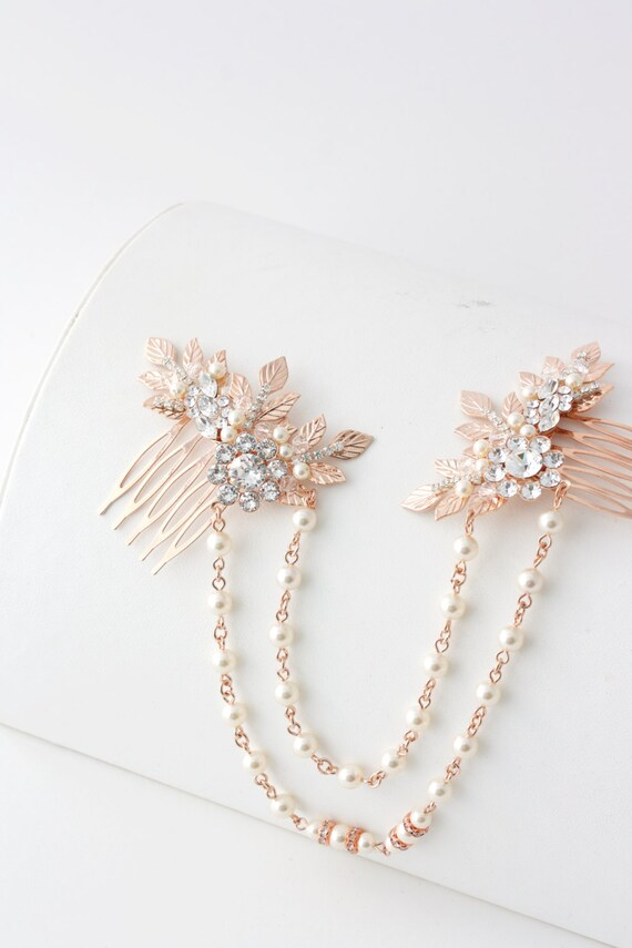 Crystal /& Pearl Cherries Hair Clips UK Seller NEW Beautiful Pair of Rose Gold