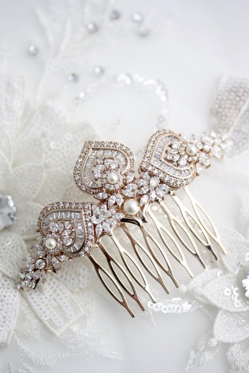 Rose Gold Bridal Hair Comb Rose Gold Wedding Headpiece Crystal image 1