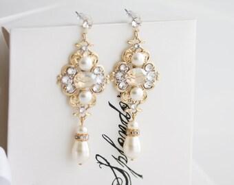 Gold Wedding Earrings, Golden Shadow Crystal, Bridal Earrings, Champagne Crystal Earrings, Pearl Drop Crystal Wedding Earrings, LEILA