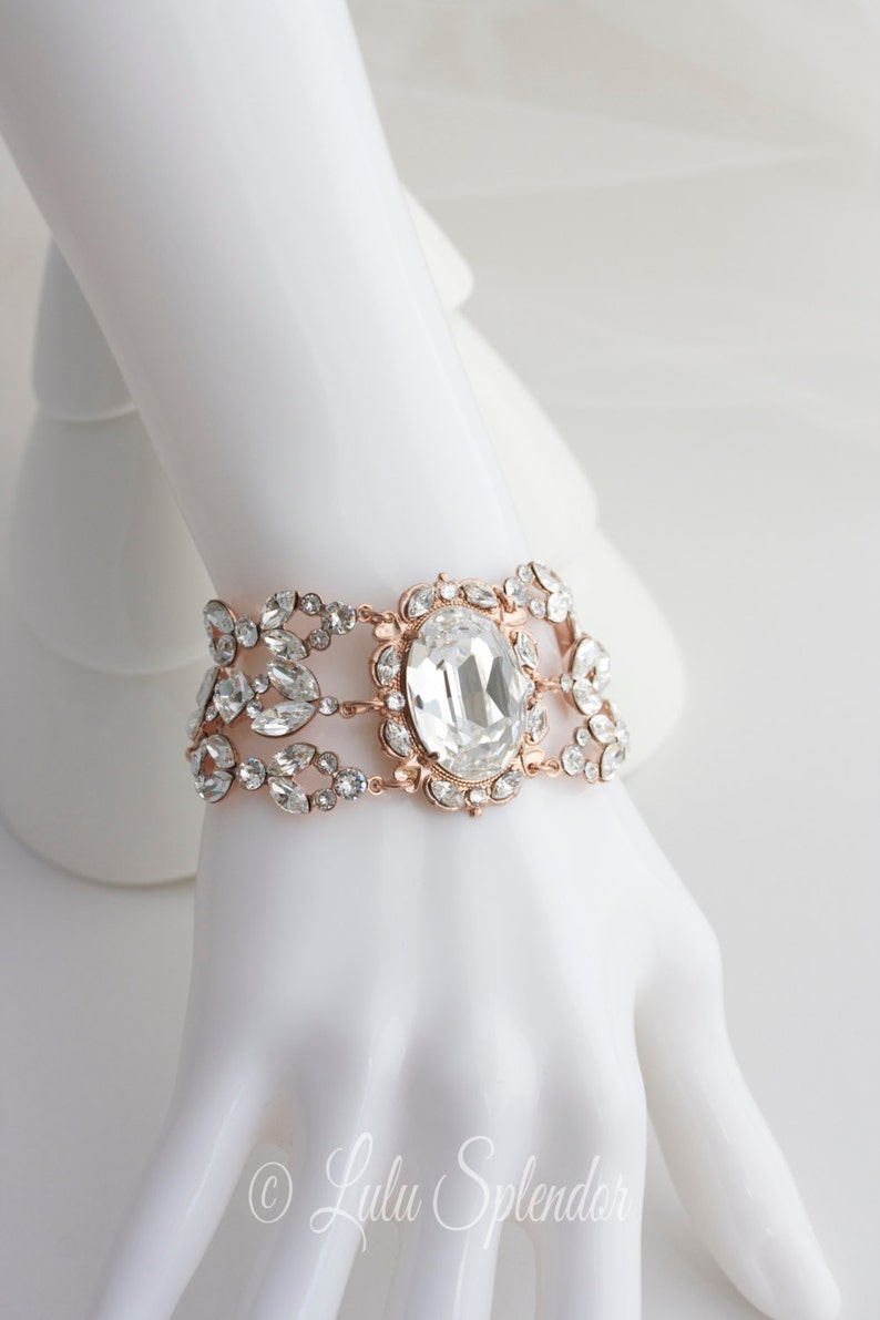 Rose Gold Crystal Bracelet Statement Bridal Bracelet Rose Gold  ba7acd5af