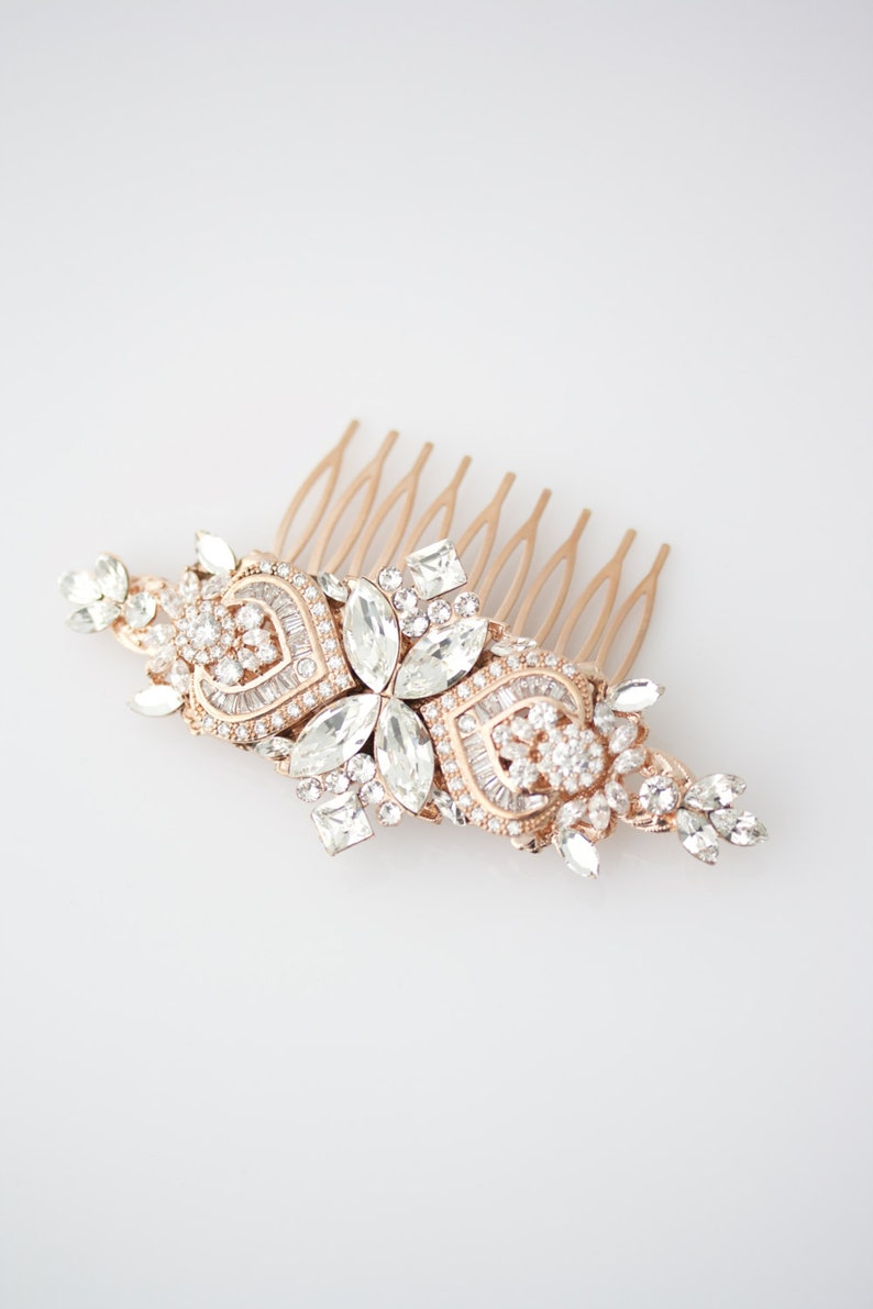 Wedding Hair Accessories Rose Gold Side Hair Comb Crystal image 0