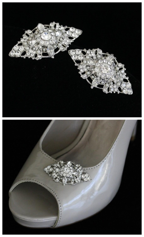 Bridal Shoe Clips Wedding Shoe Clips Pearl Vintage Wedding  Accessories Pearl Clips Rhinestone Filigree Shoe clips  MARCELLA 70b379