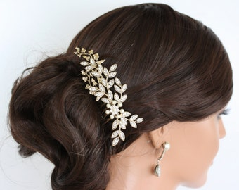 Bridal Hair Comb Gold Wedding Comb Crystal Leaf Comb Wedding Hair Accessories Crystal Headpiece NEVE