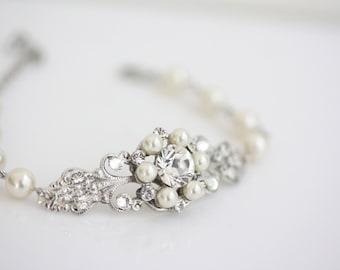 Wedding Jewelry Rhinestone Pearl Bridal Bracelet Filigree Cuff Bracelet Pearl wedding gift for bride bridesmaids  PARIS CLASSIC BRACELET