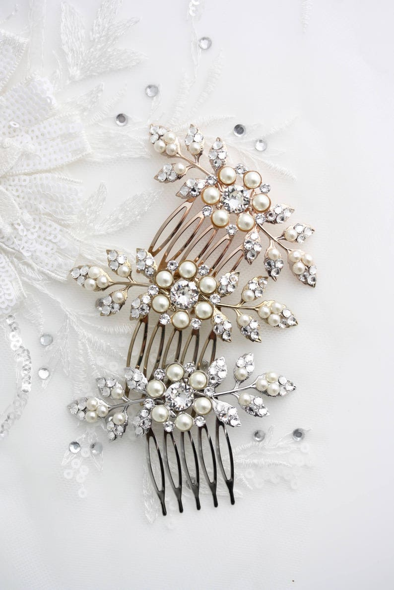 Bridal Comb Rose Gold Wedding Hair Accessory Small Hair Comb image 0