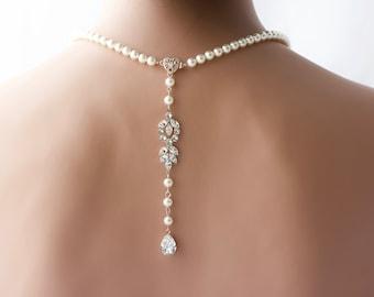 Backdrop Bridal Necklace Rose Gold Pearl Wedding Necklace Delicate Back Drop Swarovski Crystal Wedding Jewelry AMELIA