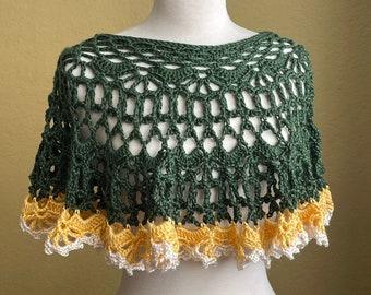 Crocheted Lacy Poncho Capelet. Three Tone. Green. Yellow. Cream. Ecru. Colorblock.