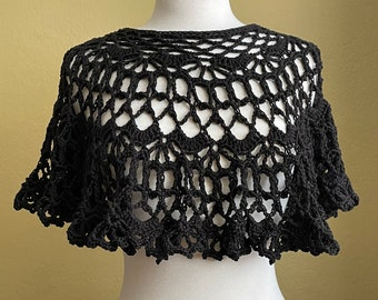 Crocheted Black Lace Topper. Poncho. Capelet. Lacy. Ruffles.
