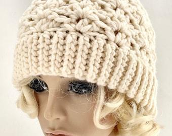 Crocheted Jenna Beanie Hat. Adult. Ivory. Ecru. Fleece. Natural. Off White.